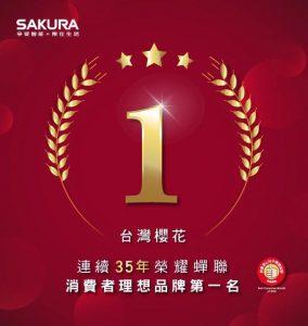 台灣櫻花「SAKURA」再次奪下消費者心中理想品牌第一名,連續35年蟬聯冠軍。台灣櫻花以「美好居家生活的創造者」自我期許,秉持「創新科技、貼心設計」的精神,以消費者需求為依歸,期望透過櫻花的產品、服務,讓消費者獲得更美好的居家生活體驗。
